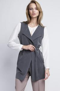 Grey Stylish Ladies Vest with a Belt