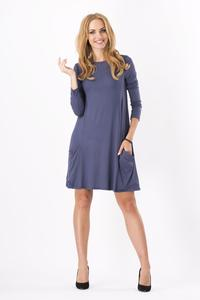 Grafitowa Casual Flared Mini Dress with Pockets