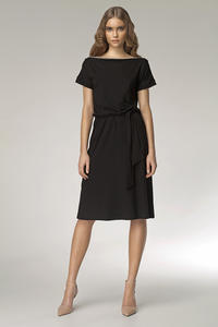 Black Bateau Neck Self Belted Shift Dress
