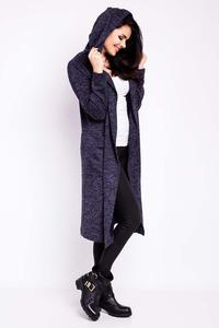 Dark Blue Long Hooded Jacket