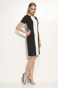 Black Elegant Dress with Slimming Leather Stripe