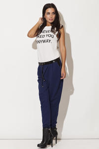 Leather Trimmed Blue Pants with Drawstringsy