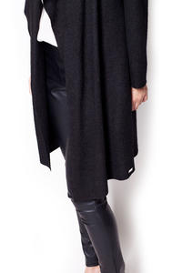 Black Long Waterfall Cardi Sweater Coat