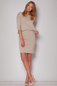 Subtle Flecked Overlay Beige Dress with Asymmetrical Top