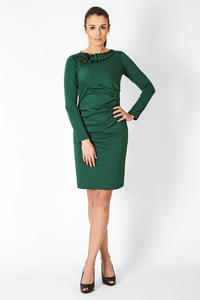 Green Elegant Dress with Gorgeous Neckline
