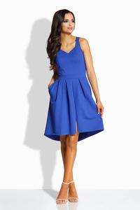 Blue Heart Shape Neckline Asymetrical Dress