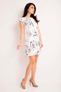Ecru Flared Floral Pattern Dress
