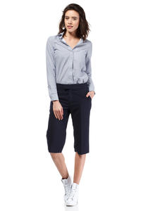Dark Blue Wide Cut Leg Cropped Length Loose Fit Pants
