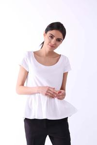 Ecru Blouse with a Frill at the Bottom