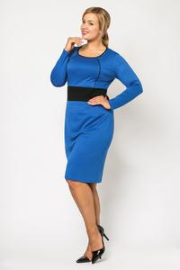 Blue Long Sleeves Contrasting Waist Dress PLUS SIZE