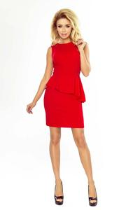 Red Elegant Pencil Dress with Peplum