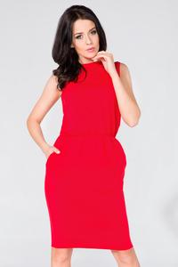 Red Sleeveless Side Pockets Casual Dress