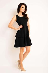 Black Flared Dress with Frills