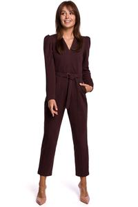 Brown  Elegant Belted Jumpsuit