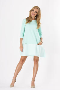 Mint 3/4 Sleeves Loose Fit Dress with Pockets