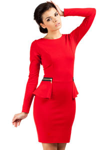 Red Seam Shift Dress with Decorative Zipper Pockets