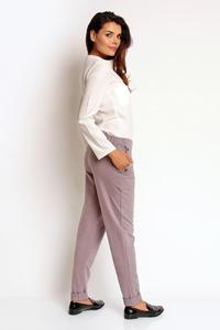 Dark Grey Tapered Legs Elastic Waist Casual Pants