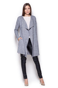 Grey Long Waterfall Cardi Sweater Coat