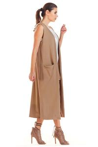 Beige Long Knitted Vest with Pockets
