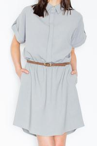 Grey Shirt Dress with Rolled-up Sleeves