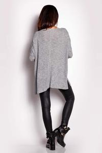 Grey  Oversized Reglan Sleeves Sweater
