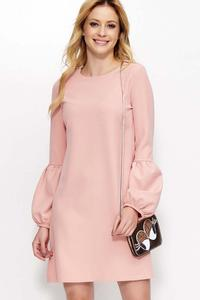 Pink Flared Dress with Unique Sleeves