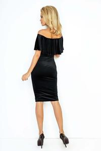 Black Bodycon Dress with Frilled Offshoulders Neckline