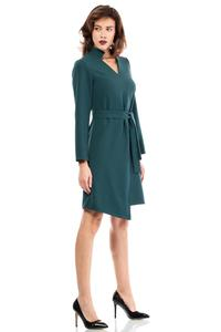 Green Asymmetrical Cut V-Neckline Dress with a Belt