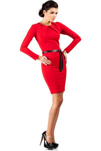 Red Pleated Neckline Shift Dress with Belt