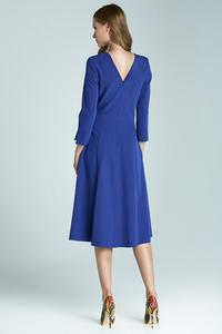 "Blue Elegant Midi Dress with ""V"" Back"
