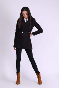 Black Short Double-breasted Wool Coat