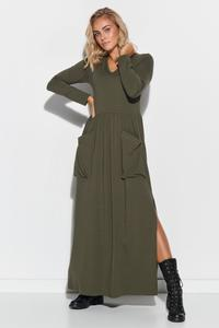 Khaki Maxi Dress with Big Pockets