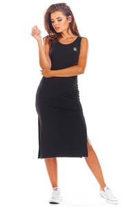 Black Cotton Fitted Dress with Slits