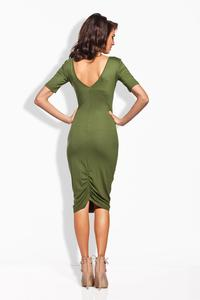 Khaki Bodycon Fit Short Sleeves Midi Dress