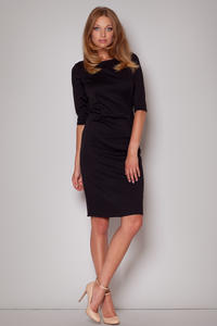 Elbow Sleeves Seam Shift Black Dress