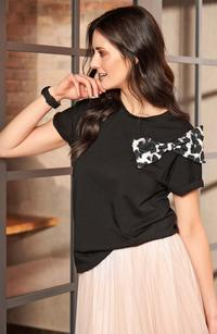 Black T-shirt with Animal Theme with Bow