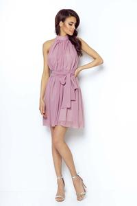 Pink Chiffon Mini Dress Stand-up Collar