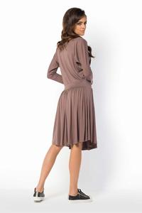 Cappuccino Casual Scoop Neckline Dress