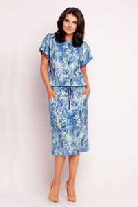 Blue Floral Print Midi Dress with Side Pockets