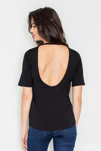 Black Classic Style Cut Out Back T-shirt