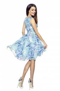 Blue Patterned Coctail Summer Dress