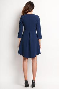 Dark Blue Longer Back Double Fold Dress