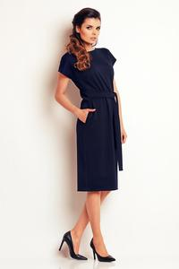 Dark Blue Classic Belted Midi Dress