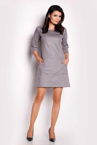 Grey Eco-Leather Flared Mini Dress