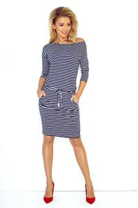 Dress in Gęny. Navy Strips. Pulled in the Belt