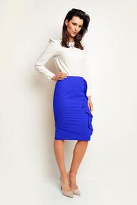 Blue Pencil Midi Skirt with a Frill