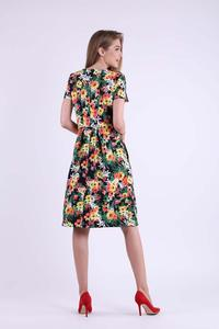 Floral Formal Flared Dress with Overlay