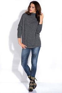 Dark Grey Bat Sleeves Tourtleneck Sweater