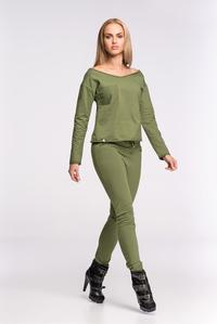 Khaki Fitted Ladies Jogger Pants