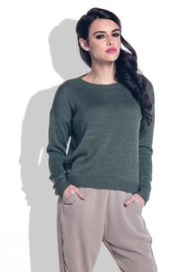 Olive Green Open Back Light Sweater